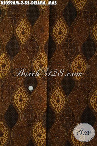 Batik Klasik Motif Delima Mas Proses Kombinasi Tulis, Batik Etnik Istimewa Khas Jawa Tengah Bahan Busana Formal Nan Istimewa Dengan Harga Sangat Terjangkau [KJ059AM-240x110cm]