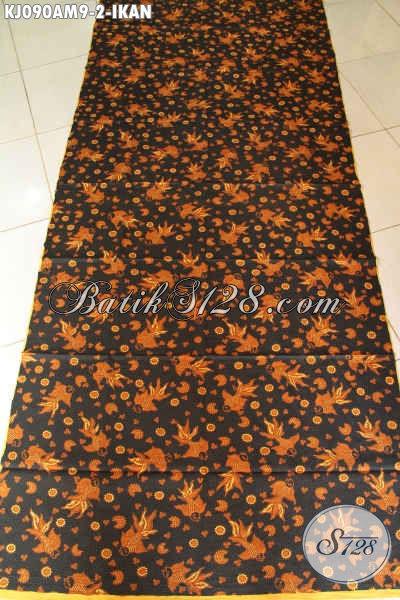 Produk Batik Solo Terkini, Batik Halus Istimewa Proses Kombinasi Tulis Motif Ikan Harga Terjangkau [KJ090AM-240x105cm]