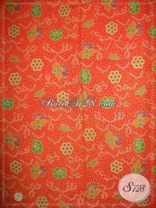 Bahan Batik Motif Burung Cuwiri,Warna Orange Asli Batik Solo [KP684]