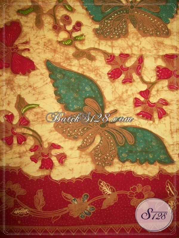 Kain Batik Tulis Motif Kupu Dengan Warna Soga Genes Dan Batik Tulis