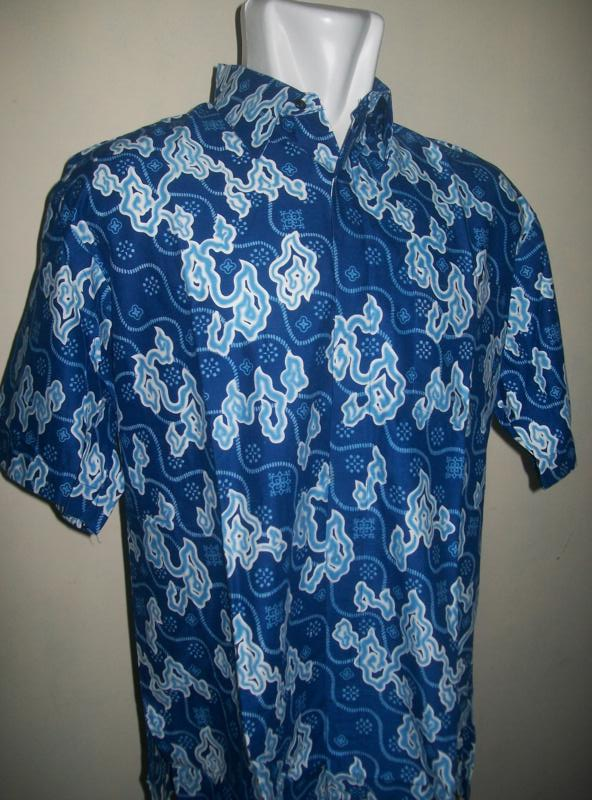 Baju Batik Pria Modern Dewasa Lengan Pendek Motif Mega