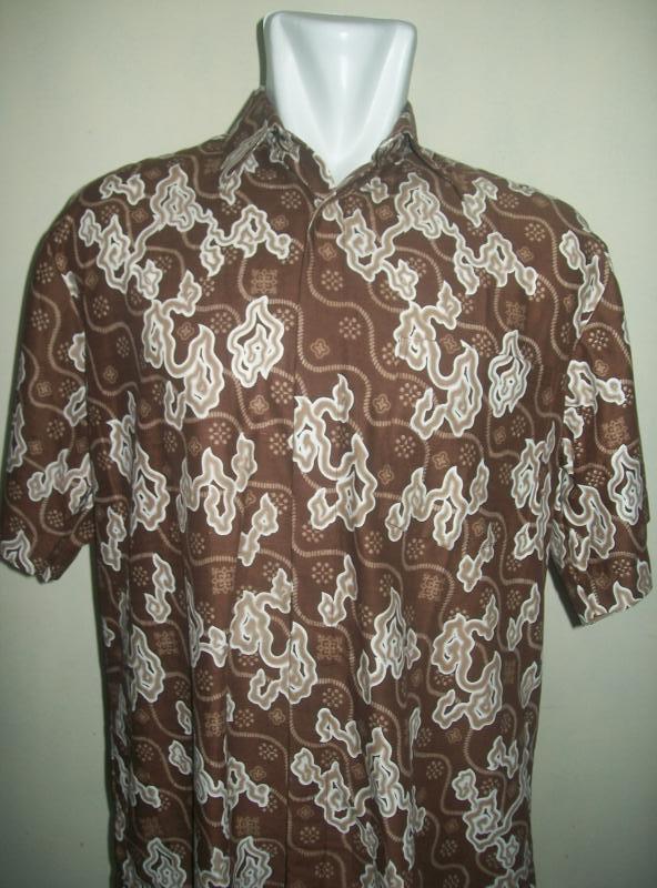 Batik Pria Dewasa Modern Lengan Pendek Ukuran XL Motif Mega Mendung [LD038], SOLD OUT