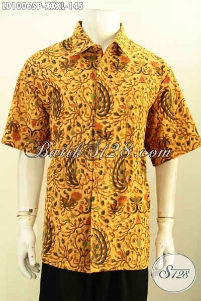 Sedia Hem Lengan Pendek 4L, Kemeja Batik Pria Gemuk Sekali Bahan Halus Motif Klasik Printing Harga 145K, Size XXXL