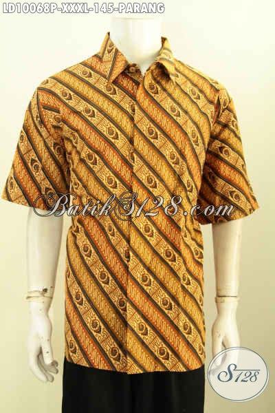 Hem Batik Motif Parang Size XXXL, Kemeja Batik Lengan Pendek Halus Proses Printing, Pas Buat Kondangan