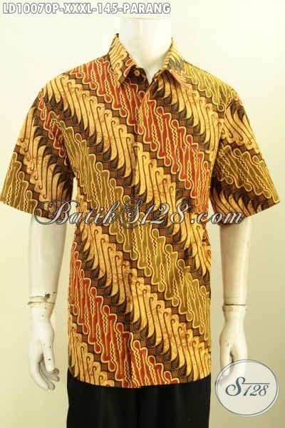 Produk Hem Batik Solo Elegan, Baju Batik Jawa Nan Istimewa Model Lengan Pendek Halus Proses Printing Untuk Penampilan Lebih Gagah Dan Berkelas, Size XXXL