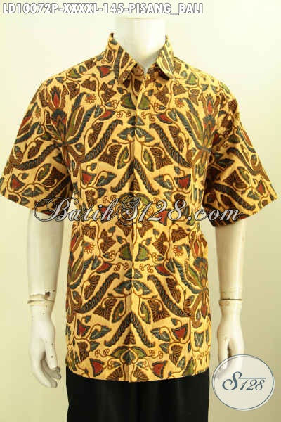 Agen Baju Batik Online, Sedia Kemeja Lengan Pendek Klasik Spesial Buat Lelaki Gemuk Sekali Bahan Halus Proses Printing Motif Pisang Bali Harga 145K, Size XXXXL