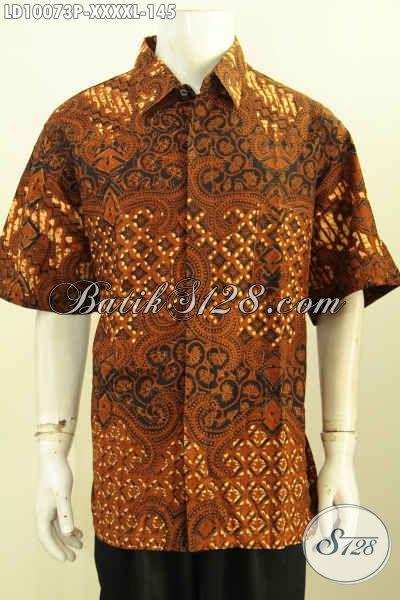 Jual Produk Kemeja Batik Solo, Hem Lengan Pendek Halus Proses Printing Size XXXXL, Motif Klasik Bahan Adem Nyaman Di Pakai