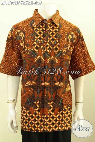 Jual Baju Batik Solo Elegan Keren Lengan Pendek, Produk Kemeja Batik Kerja Pria Gemuk Sekali Size XXXXL Harga 145K