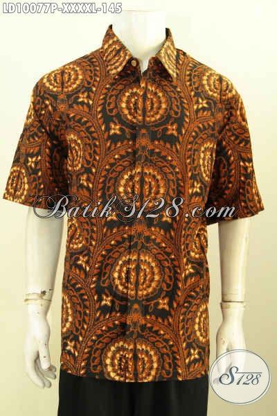 Jual Online Batik Hem Modern, Pakaian Batik Solo Halus Lengan Pendek Kwalitas Istimewa, Cocok Untuk Seragam Kerja Dan Baju Santai [LD10077P-XXXXL]