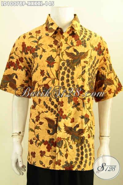 Batik Hem Solo Elegan Motif Klasik, Baju Batik Pria Gemuk Sekali Lengan Pendek Nan Berkelas Proses Printing, Harga 135K Tampil Lebih Gagah, Size XXXXL
