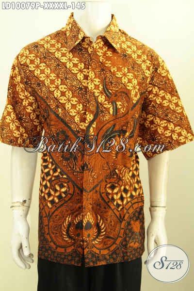 Hem Lengan Pendek Elegan Bahan Batik Printing Motif Klasik, Spesial Untuk Pria Gemuk Size XXXXL