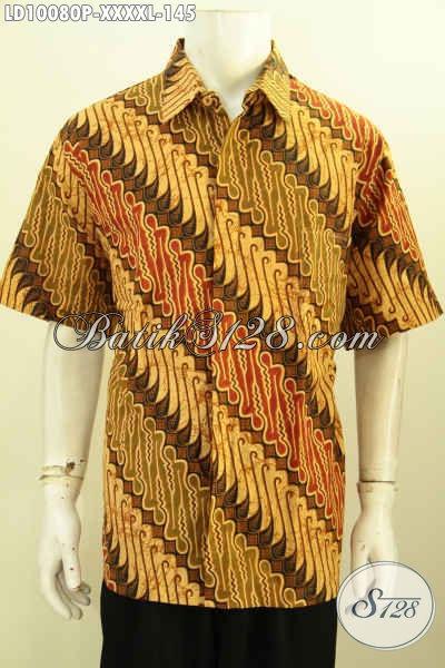 Batik Hem Elegan Motif Parang , Baju Batik Printing Solo Lengan Pendek 5L Untuk Tampil Gagah Dan Berkelas
