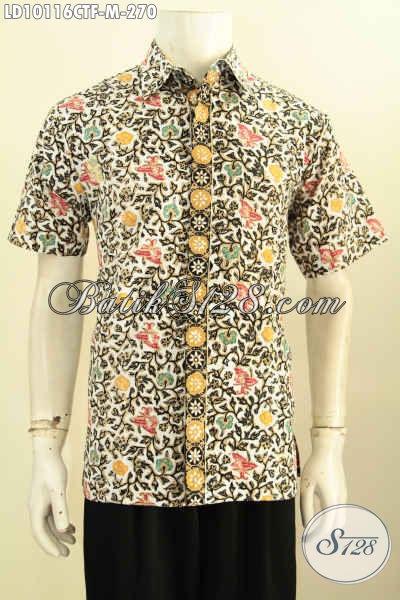 Model Baju Batik Pria Lengan Pendek Istimewa Daleman Full Furing, Kemeja Batik Halus Cap Tulis Bahan Adem, Pas Buat Ngantor, Size M