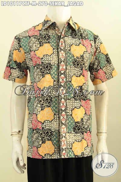 Model Baju Batik Pria Motif Klasik Lengan Pendek Motif Sekarjagad, Hem Batik Solo Istimewa Untuk Penampilan Gagah Dan Modis, Size M