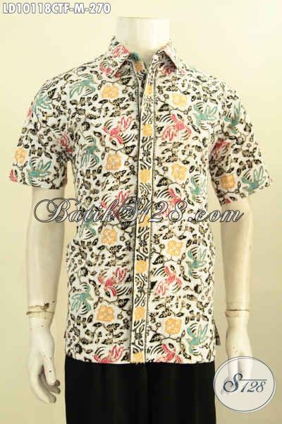 Baju Batik Cowok Keren Model Lengan Pendek, Hem Batik Desain Kekinian Penampilan Makin Gaya, Bahan Halus Motif Terbaru Cap Tulis Daleman Full Furign Harga 270K [LD10118CTF-M]