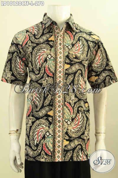 Model Baju Batik Solo Keren Motif Modern Klasik, Hem Batik Cap Tulis Lengan Pendek Full Furing, Penampilan Lebih Gagah, Size L