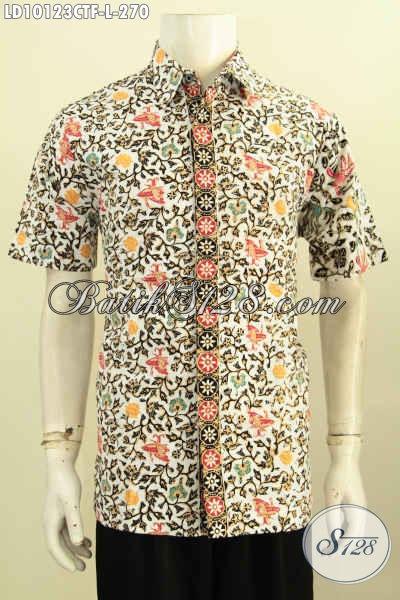 Baju Batik Kerja Modern Pria Desain Terbaru Lebih Gaya, Hem Lengan Pendek Cap Tulis Full Furing, Tampil Mewah Dan Modis [LD10123CTF-L]