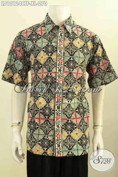 Model Baju Batik Pria Dewasa Terbaru 2017, Kemeja Batik Elegan Cocok Buat Kerja Dan Acara Resmi Daleman Full Furing Harga 270K, Size XL