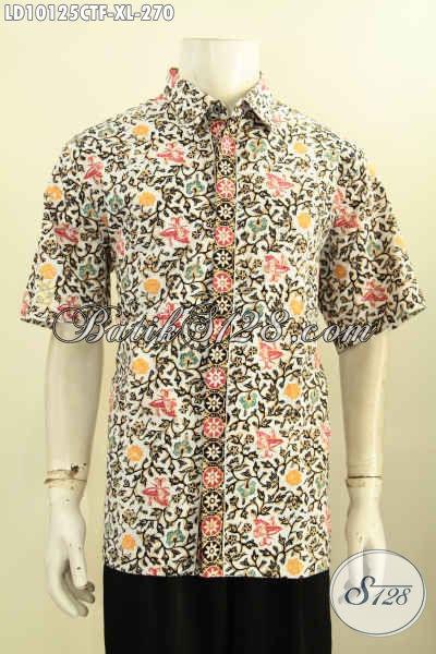Model Baju Batik Pria Lengan Pendek Bahan Halus Motif Elegan Desain Kekinian Kwalitas Bagus Harga 270K, Size XL