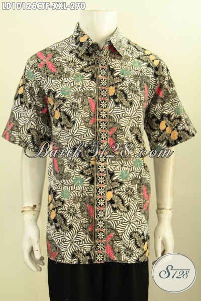 Model Baju Batik Lelaki Gemuk Motif Mewah Lengan Pendek, Pakaian Batik Berkelas Yang Bikin Penampilan Gagah Dan Tampan, Size XXL