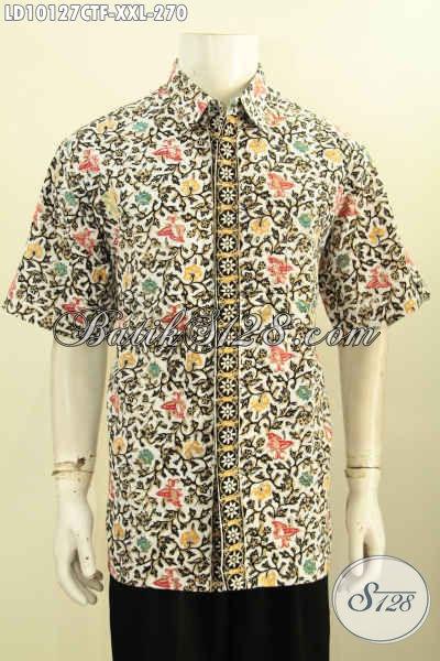Baju Batik Pria Bagus Spesial Buat Lelaki Gemuk, Hem Lengan Pendek Full Furing Motif Trendy Cap Tulis, Di Jual Online 270K [LD10127CTF-XXL]