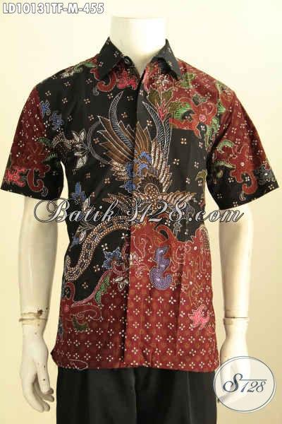 Model Baju Batik Solo Elegan Lengan Pendek Full Furing, Pakaian Batik Solo Jawa Tengah Bahan Adem Proses Tulis, Bikin Pria Tampil Gagah, Size M