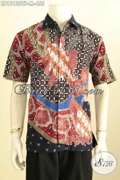 Model Baju Batik Seragam Kerja Pria Terkini, Produk Kemeja Batik Solo Elegan Dan Mewah Motif Tulis Daleman Pakai Furing, Penampilan Terlihat Mewah Hanya 400 Ribuan [LD10132TF-M]