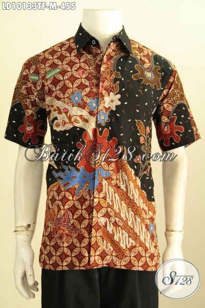 Model Baju Batik Kerja Pria Kantoran, Pakaian Batik Mewah Proses Tuis Motif Kekinian Lengan Pendek Full Furing Hanya 455K, Size M