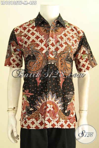 Model Baju Batik Solo Untuk Kerja Kantoran, Hem Pria Muda Lengan Pendek Premium Full Furing Motif Tulis Asli, Di Jual Online 455K [LD10135TF-M]