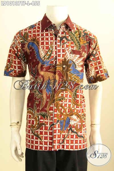 Model Baju Batik Lelaki Terbaru Yang Membuat Penampilan Gagah Dan Keren, Bahan Adem Motif Tulis Asli Daleman Full Furing, Size L