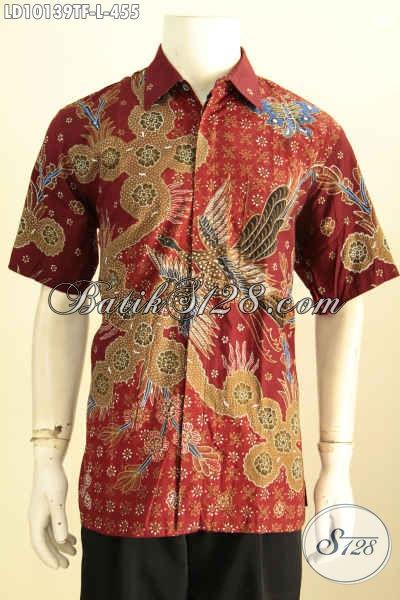 Model Baju Batik Keren Pria Masa Kini Di Jual Online, Hadir Dengan Motif Mewah Warna Merah Full Furing Proses Tulis Hanya 455K, Size L