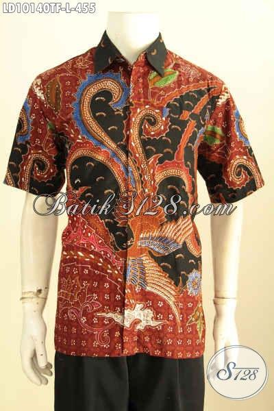 Model Baju Batik Pria Lengan Pendek Premium Size L, Baju Batik Solo Terbaru Kwalitas Istimewa Proses Tulis Bahan Adem Bikin Penampilan Ganteng Maksimal