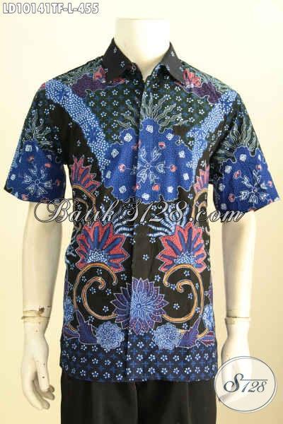 kemeja batik tulis pria lengan pendek warna biru hitam keren eksklusif elegan