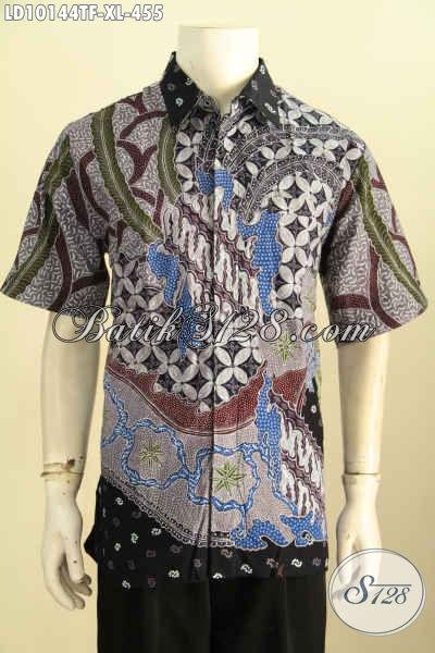 Model Baju Batik Pria Size XL Mewah Full Furing Lengan Pendek Untuk Kerja, Pakaian Batik Premium TulisAsli Harga 455K