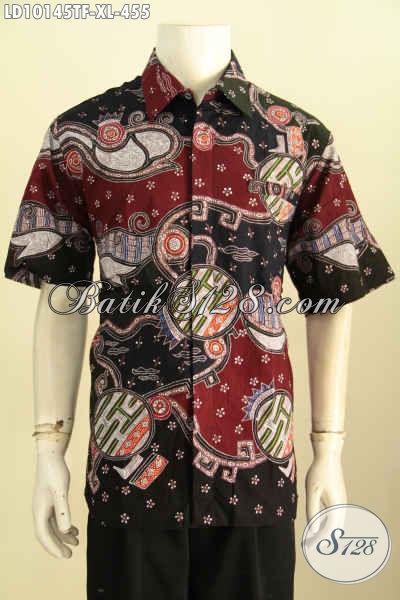 Model Baju Batik Pria Lengan Pendek Motif Unik Tulis Asli, Pakaian Batik Solo Mewah Premium Full Furing, Bikin Penampilan Ganteng Sempurna [LD10145TF-XL]