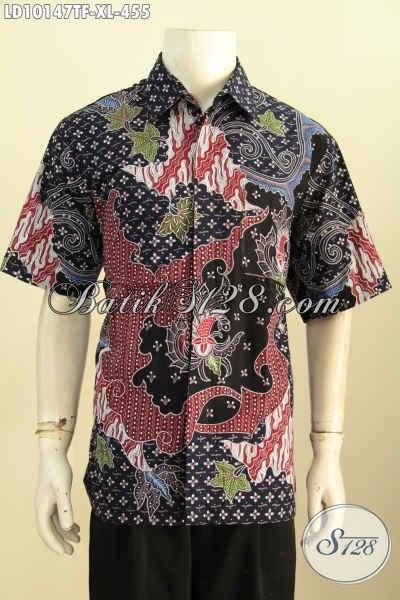 Model Baju Batik Untuk Kerja Cowok Size XL, Hem Lengan Pendek Full Furing Bahan Halus Motif Mewah Tulis Asli, Bikin Pria Terlihat Gagah [LD10147TF-XL]