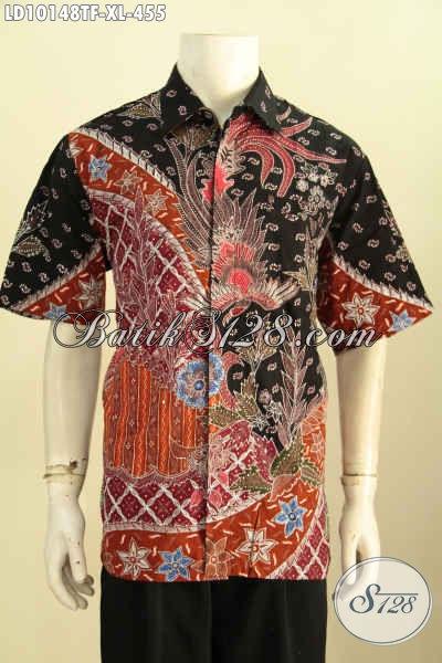 Model Baju Batik Seragam Kerja Pria, Busana Batik Modis Desan Terbaru Motif Elegan Tulis Asli Daleman Full Furing Harga 455K, Size XL