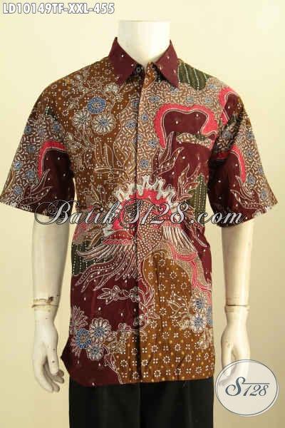 Model Baju Batik Solo Pria Gemuk Lengan Pendek, Pakaian Batik Elegan Motif Mewah Tulis Asli Daleman Di Lengkapi Furing, Tampil Tampan Maksimal, Size XXL