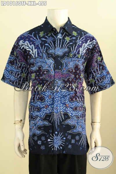 Model Baju Batik 3L Terkini, Pakaian Batik Jumbo Kwalitas Premium Full Furing Lengan Pendek Motif Tulis Asli, Istimewa Buat Ke Kantor, Size XXL