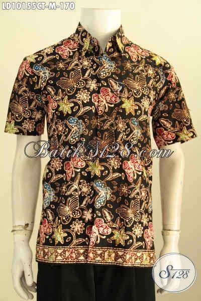 Model Baju Batik Hem Desain Kekinian, Kemeja Batik Lengan Pendek Halus Motif Unik Cap Tulis, Penampilan Makin Sempurna, Size M