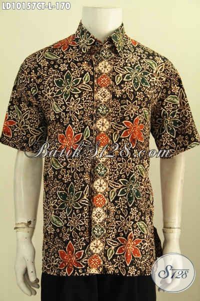 Model Baju Batik Kerja Size L, Hem Batik Santai Motif Unik Proses Cap Tulis, Pakaian Batik Lengan Pendek Menunjang Penampilan Makin Keren