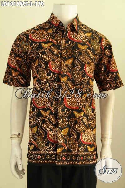 Model Baju Batik Motif Modern Dengan Sentuhan Klasik, Kemeja Batik Cap Tulis Asli Solo Lengan Pendek, Pria Terlihat Makin Gagah, Size L