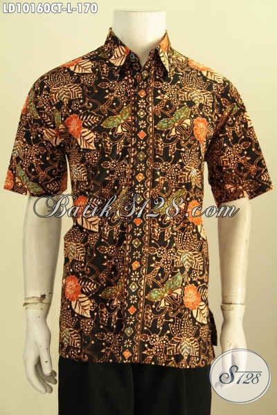 Model Baju Batik Kemeja Atasan Pria, Hem Lengan Pendek Motif Bagus Proses Cap Tulis, Pas Banget Untuk Hangout, Size L