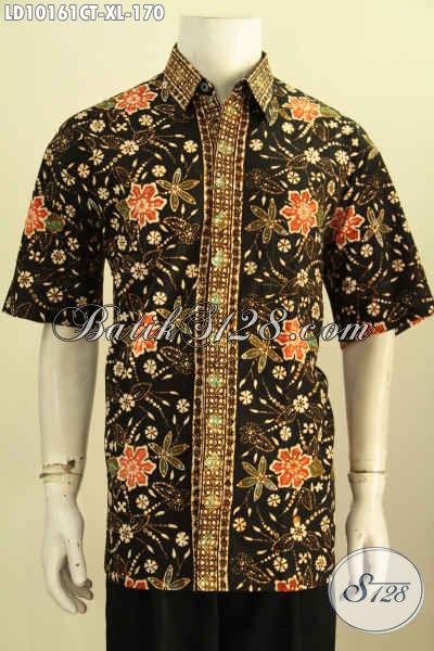 Batik Kemeja Pria Lengan Pendek Halus Bahan Adem Motif Bagus Cap Tulis, Cocok Untuk Seragam Kerja Tampil Bergaya, Size XL