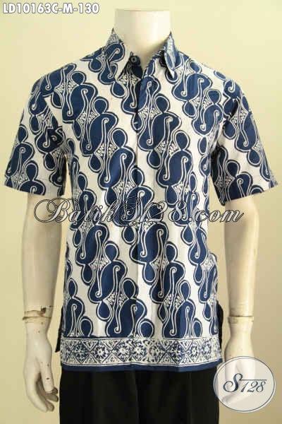 Model Baju Batik Trendy Pria Muda, Pakaian Batik Solo Elegan Motif Klasik PArang Warna Biru Proses Cap, Penampilan Lebih Gaya [LD10163C-M]