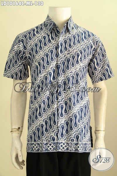 Model Baju Batik Pria Lengan Pendek, Aneka Baju Batik Kerja Cowok Terkini Proses Cap Kwalitas Bagus Harga 130K, Size M – L