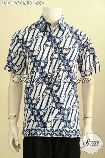 Model Baju Batik Pria Size L Bahan Halus Motif Trendy Lengan Pendek Proses Cap, Pakaian Batik Halus Berkelas Pria Tampil Mempesona, Size L