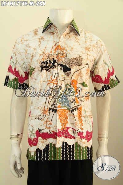 Model Batik Kemeja Pria Terkini, Pakaian Batik Solo Istimewa Lengan Pendek Full Furing Bahan Adem Kwalitas Istimewa Motif Wayang Harga 285K, Size M