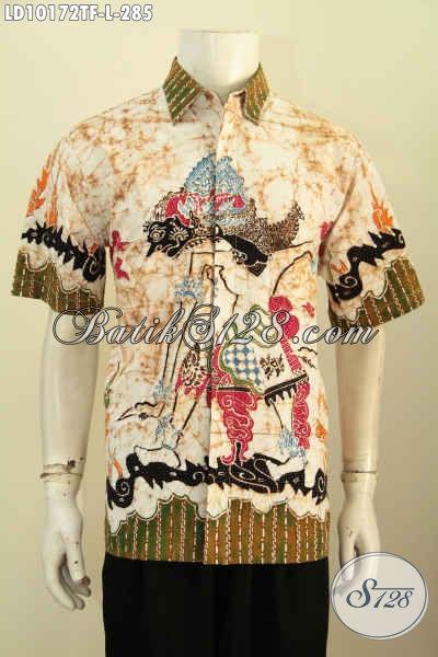 Model Baju Batik Pria Muda, Hem Batik Solo Elegan Dan Modis Kwalitas Bagus Proses Tulis Motif Wayang, Cocok Buat Kerja Dan Jalan-Jalan [LD10172TF-L]