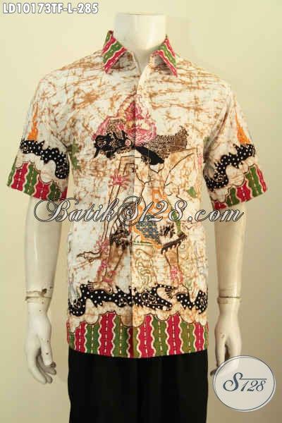 Model Baju Batik Kerja Pria Muda Dan Dewasa, Pakaian Batik Halus Lengan Pendek Keren Motif Wayang Full Furing Proses Tulis Hanya 200 Ribuan [LD10173TF-L]